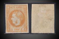 1868 ROMANIA 2 BANI PRINCE CAROL I WHISKERS ORANGE MINT H ST.33 MI.17