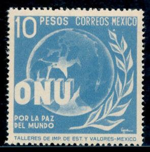 az33 Mexico #818 10$ UN Issue Mint Light Hinged VF Est $10-20