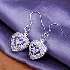 Beauty 925 silver plated covered CZ purple heart design dangle earrings