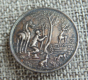 "Antique Vtg Religious Button Man in Woods Stag Deer w/ Cross~Aprx:1-1/8""~#427-B"
