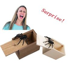 Wooden Scare Box With Spider Hidden Prank Wood Scare Joke Trick Scary Toys Gift