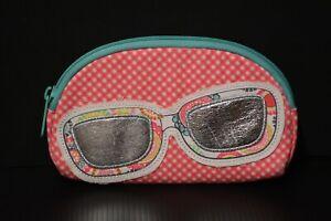 Thirty One Soft Eyeglass Sunglass Case Zipper Pouch Cosmetic Bag Pink Mint Green