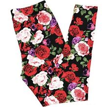 Buttery SOFT Gorgeous Floral Leggings Tall & Curvy XL Plus Red Pink Flowers TC