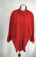 Louben Coat Red Wool Cashmere Blend Size 14 Women's Made in Canada