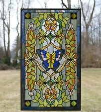 "20.5"" x 34.75"" Handcrafted stained glass window panel Butterfly Flower"