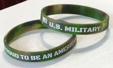 U S Military American Camo Silicone Rubber Bracelet Wrist Band Usa Flag