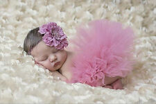 Newborn Baby Girls Tutu Skirt + Headband Flower Photography Studio Costume Props