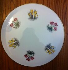 """England Royal Worcester Yellow Daffodills Pink Floral Gold Trim CAKE PLATE 11"""""""
