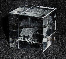 LASER-ETCHED SMALL SQUARE CRYSTAL BLOCK W/POLAR BEAR & ALASKA ON THE BOTTOM EDGE