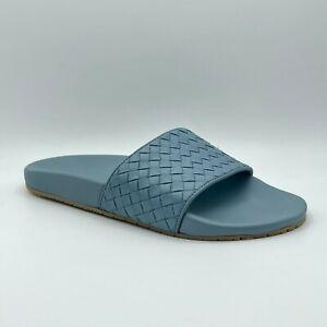 $580 Bottega Veneta Men's Gray/Blue Leather Slip On Slide Sandal 440171 4702