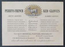 Carte de visite PERRINS FRENCH KID GLOVES NEW-YORK Megroz Cachemire visit card