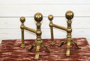 Pair Antique Arts and Crafts Aesthetic Brass Fireplace Grate Andirons Fire Dogs
