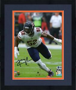 """Framed Khalil Mack Chicago Bears Autographed 8"""" x 10"""" White Jersey Photograph"""