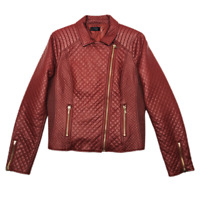 Stella Lorenzo Biker Moto Jacket Womens Large Burgundy Quilted  Faux Leather