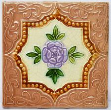 Alte Reliefkachel Wandkachel Kachel Fliese um 1900 Blüte Blume 15 x 15 cm