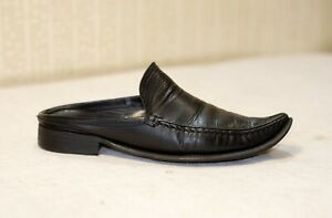 700$ ROCCO P black leather pointed toe backless loafers mules flats 38= 39 us8.5