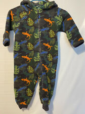 LL Bean Boys Infant Winter Foot In hand Cover Sleeper Coat Jungle Lizards Zipup