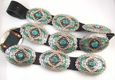 """Lrg Navajo Signed """"CC"""" Sterling Silver Turquoise Coral Petote Bird Concho Belt J"""