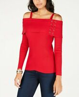 Thalia Sodi Womens Red Off Shoulder Lace Up Pullover Sweater Size Large NWT $69