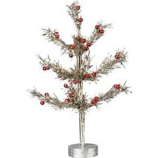 "Primitives by Kathy Christmas 10"" Silver Tinsel Tree w/Red Accents Free Shipping"
