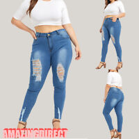 Plus Size Womens Skinny Denim Trousers High Waist Pants Washed Jeans Jeggings