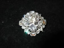 Pin Brooch Silver Tone Rhinestone Crystal 3d Vintage Antique Estate Shiny CHIC