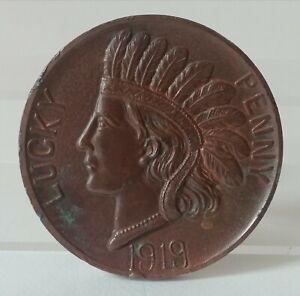 LUCKY PENNY 1919 Médaille en étain Bronze souvenir de WASHINGTON Capitol INDIEN