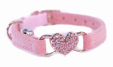 "Pet Palace ""Queenie Cat"" Velvet Kitten Safety Cat Collar Adjustable Heart Charm"