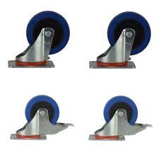 Blue Wheels Set 1004  2 Feststellbremsen & 2 Lenkrollen 100mm Totalfeststeller