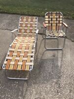 Vintage Retro Folding Aluminum Chaise Lounge Lawn Pool Beach Webbed And Chair