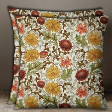 S4Sassy Decorative Cotton Poplin Beige Floral Print Square Sofa Cushion Cover