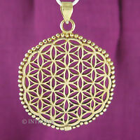 Anhänger Blume des Lebens - Amulett Medaillon mit Perlenrand Damenschmuck InoM07