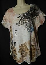 COLDWATER CREEK Size M Floral Beaded Cap Sleeve Scoop Neck Top Tee Shirt