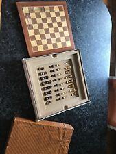 Ancien Plateau de Jeu d'échecs en bois marqueterie + pions