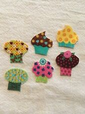 Dainty Mini Cupcake  - 6 - Iron-On Fabric Appliques.