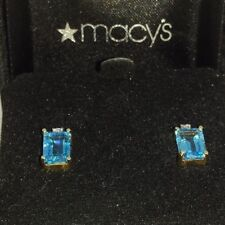 Baguette Blue Topaz (4tcw) and Diamond .4 tcw) Pair of Earrings 14K Yellow Gold