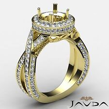 Diamond Engagement Ring Round Semi Mount Pave Cross Shank 14k Yellow Gold 1.5Ct