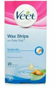 NEW 20 VEET EASY GRIP READY TO USE WAX STRIPS FOR SENSITIVE SKIN + FREE SHIPPING