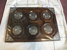 Collectible Wood Metal ELEPHANT Thai Handcrafted Coaster Set 6 +Serving Tray