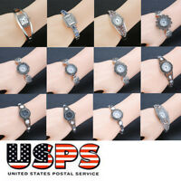 Women Silver Bangle Watch Bracelet Crystal Rhinestones Dial Analog Quartz Wrist
