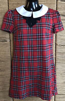 ATMOSPHERE RED TARTAN DRESS PETER PAN COLLAR VINTAGE PRIMARK SIZE 8