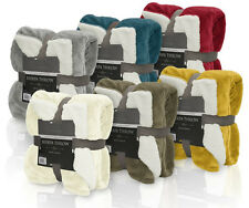 "Ivory Reversible Sherpa Plush Fleece Throw Blanket: Soft and Plush, 50"" x 60"""