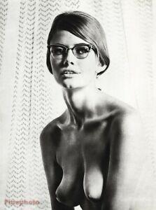 1960 Vintage SAM HASKINS Female Nude Breast Woman Retro Style Glasses Photo Art