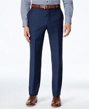 $200 TOMMY HILFIGER men BLUE WOOL FLAT FRONT FIT DRESS PANTS TROUSERS 34 W 30 L