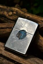 Zippo Lighter - Indian Headdress - Engraved - Turquoise - Feathers - Chief