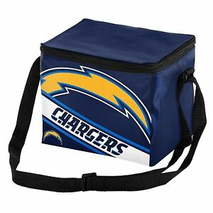 Los Angeles Chargers NFL Big Logo Striped 6 pack Cooler Lunch Box Bag Insulated