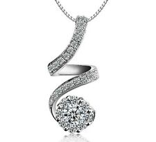 Sterling Silver Cubic Zirconia Heart Pendant Necklace Chain Jewelry Gift Box L40