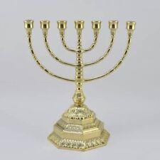 Amenorà MENORAH candeliere ebraico 7 braccia ottone lucido massiccio MEDIO