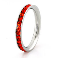 Stainless Steel Eternity Orange Crystal Stackable Fashion Ring 3MM
