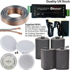 AMPLIFICATORE Wireless/bluetooth & 8x soffitto/parete Altoparlante KIT – Home Hi-Fi Amplificatore Sistema